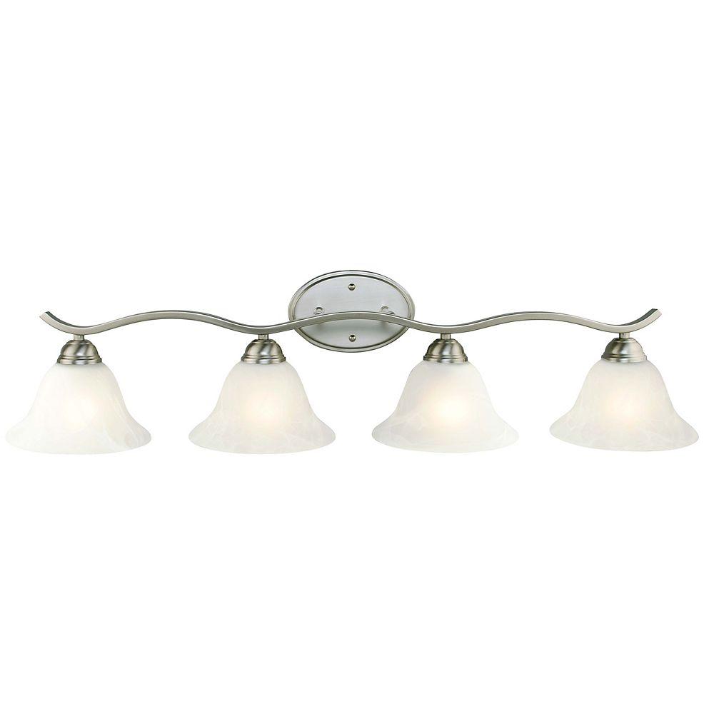 Hampton Bay Applique de salle de bains Andenne, nickel brossé, 4 ampoules, diffuseurs cloches en verre marbré