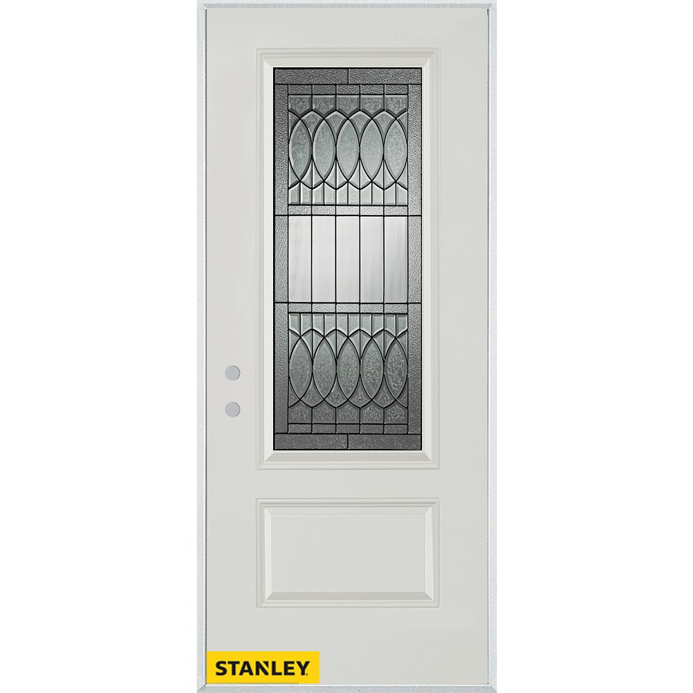 STANLEY Doors 33.375 inch x 82.375 inch Nightingale Patina 3/4 Lite 1-Panel Prefinished White Right-Hand Inswing Steel Prehung Front Door - ENERGY STAR®