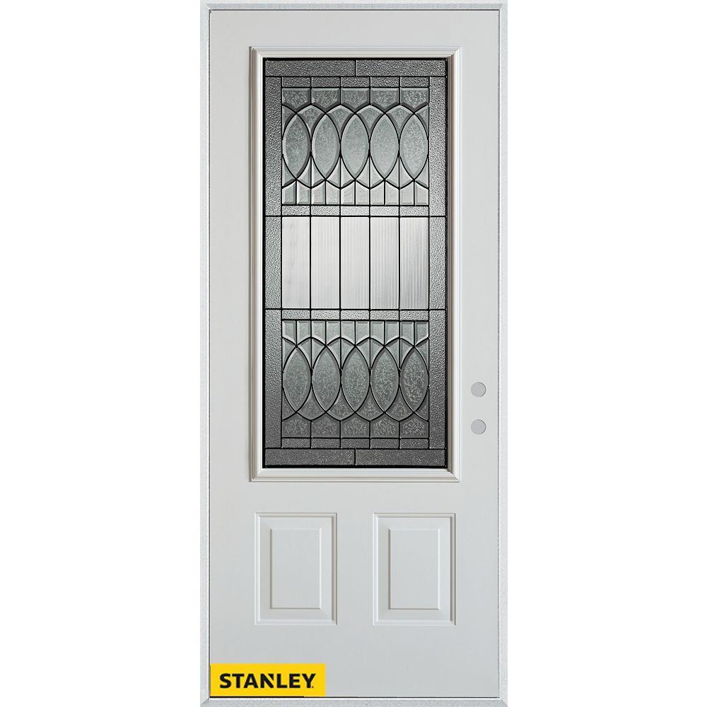 STANLEY Doors 37.375 inch x 82.375 inch Nightingale Patina 3/4 Lite 2-Panel Prefinished White Left-Hand Inswing Steel Prehung Front Door - ENERGY STAR®