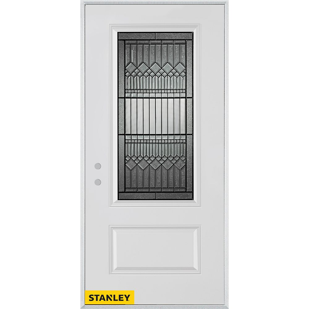 STANLEY Doors 35.375 inch x 82.375 inch Lanza Patina 3/4 Lite 1-Panel Prefinished White Right-Hand Inswing Steel Prehung Front Door - ENERGY STAR®