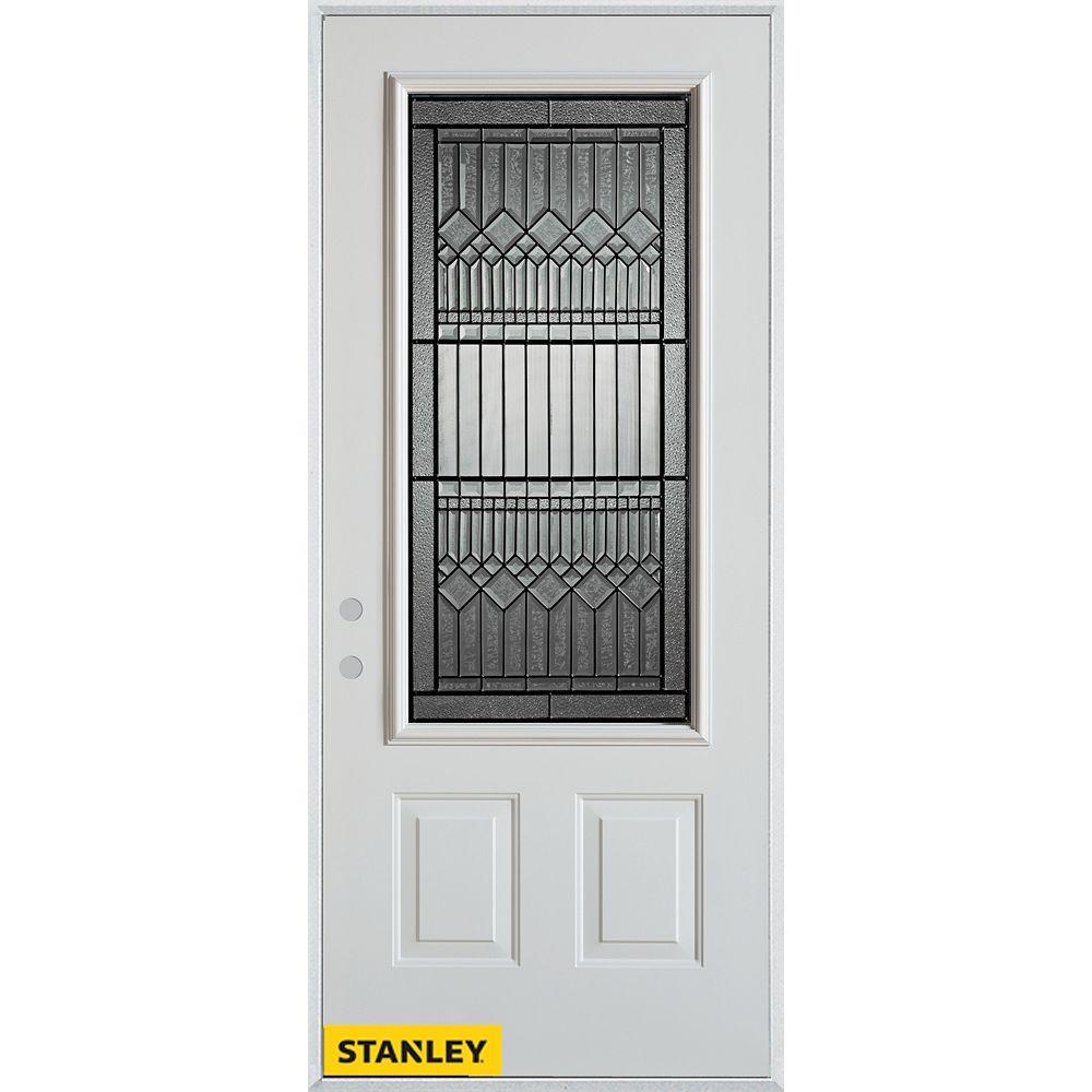 STANLEY Doors Porte dentrée en acier préfini blanc, munie de deux panneaux et dun 3/4 verre patina, en 36 po x 80 po - Droite - ENERGY STAR®
