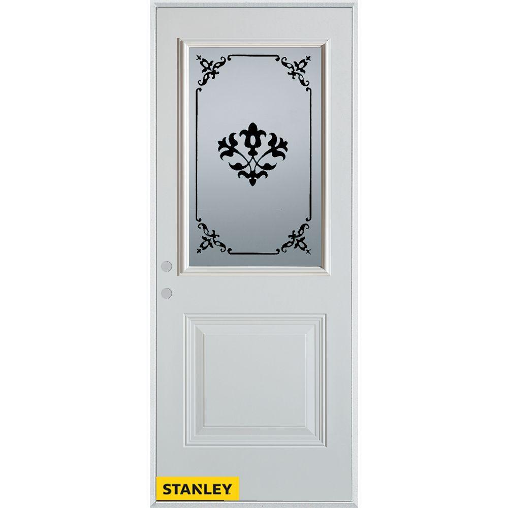 STANLEY Doors 35.375 inch x 82.375 inch Renoir 1/2 Lite 1-Panel Prefinished White Right-Hand Inswing Steel Prehung Front Door - ENERGY STAR®