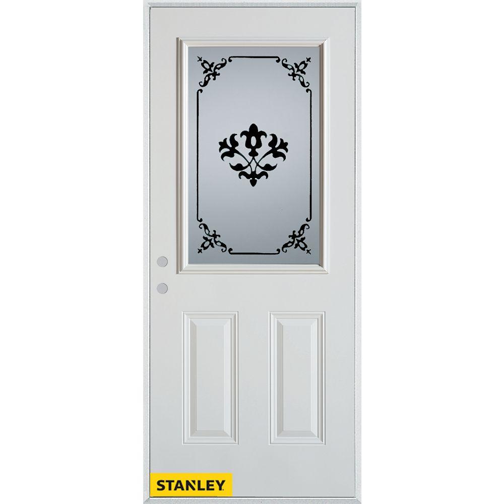 STANLEY Doors 35.375 inch x 82.375 inch Renoir 1/2 Lite 2-Panel Prefinished White Right-Hand Inswing Steel Prehung Front Door - ENERGY STAR®