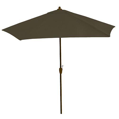 Hampton Bay 9 ft. Steel Market Umbrella with Push Button Tilt and Crank in Java Texture