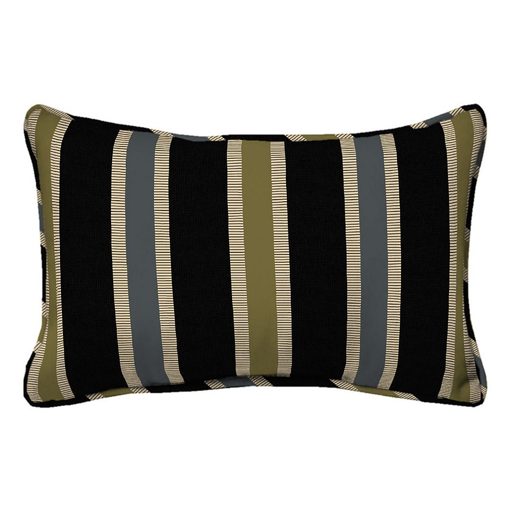Hampton Bay 20 inch Ribbon Stripe Lumbar Pillow in Black