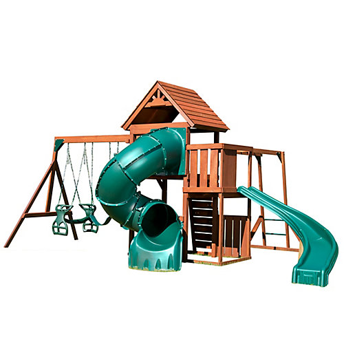 Grandview Twist Complete Wood Playset with 5 ft. Turbo Tube, Standard Slide, Swings, and Monkey Bars