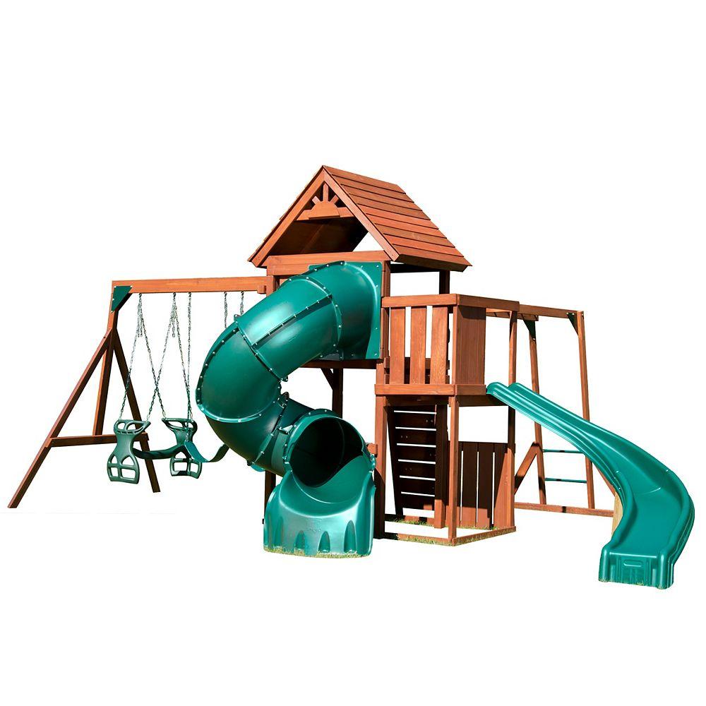 Swing-N-Slide Ensemble de jeu complet en bois Grandview Twist avec glissade Turbo Tube de 1,52 m (5 pieds)