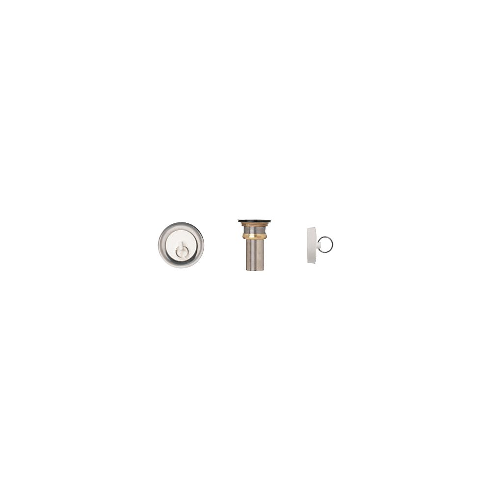 Supreme Metal Products Duplex Waste With Rubber Stop. T304 SS, Brass Locknut, 2 5/8 Inch Brass Tailpiece