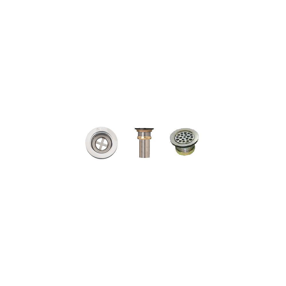 Supreme Metal Products Vandal-Proof Grid Strainer. T304 SS, SS Hex Screw, Brass Locknut, 2 5/8 Inch Brass Tailpiece