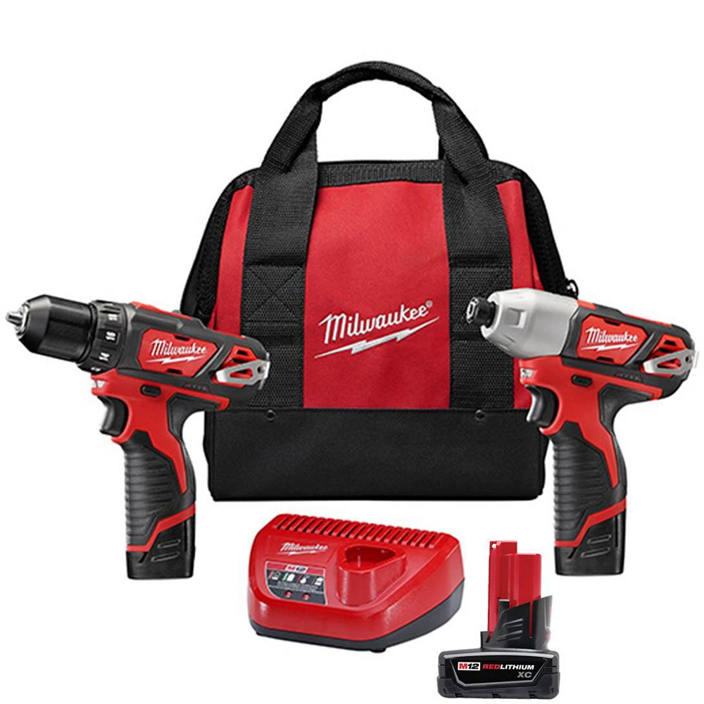 Milwaukee Tool M12 12V Lithium-Ion Cordless Drill Driver/Impact Driver Combo Kit (2-Tool) w/(2) 1.5Ah Batteries, (1) M12 XC Battery, Charger, Tool Bag