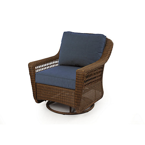 Spring Haven Motion Rocker with Brown and Blue Cushions