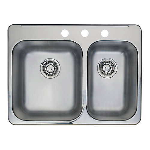Combination Bowl Pre-Drilled 3-Hole Double Sink
