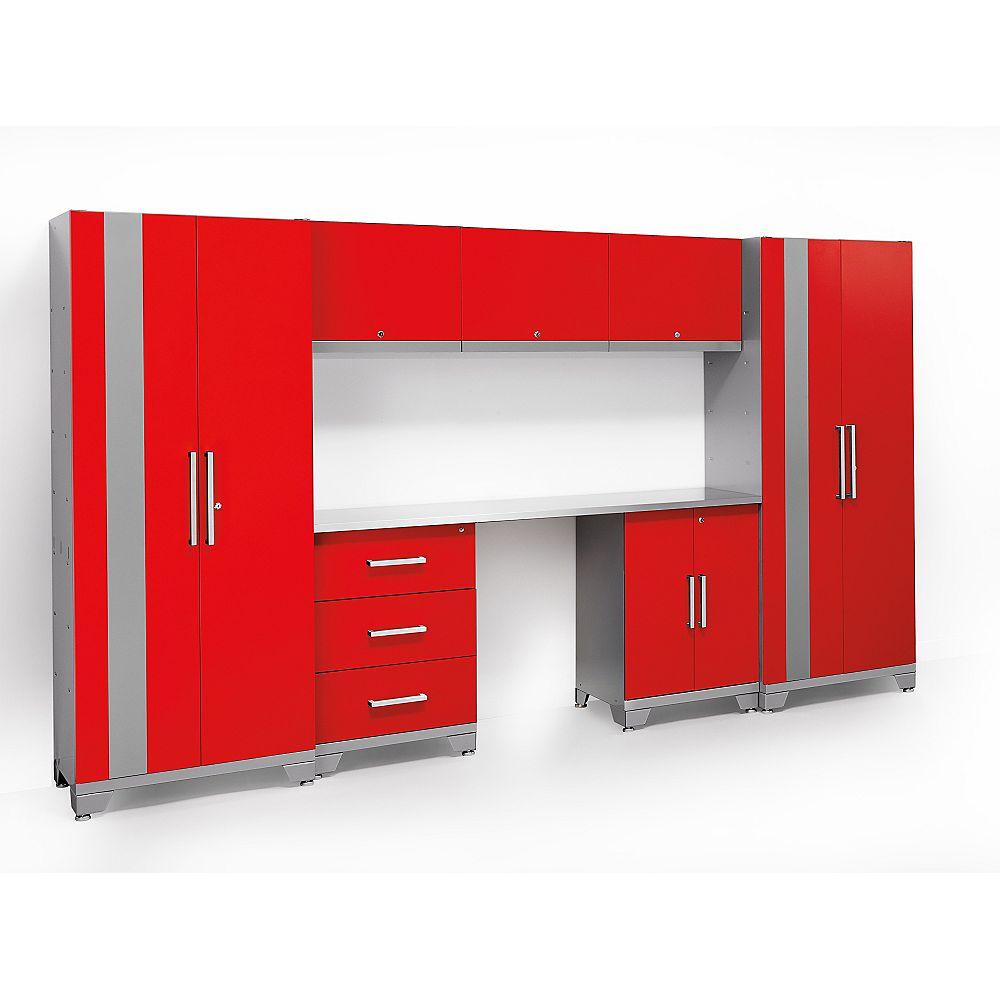 NewAge Products Inc. Série Performance Ensemble d'armoires de 11 pi. 8 pièces Ensemble d'armoires de cuisine en métal en rouge