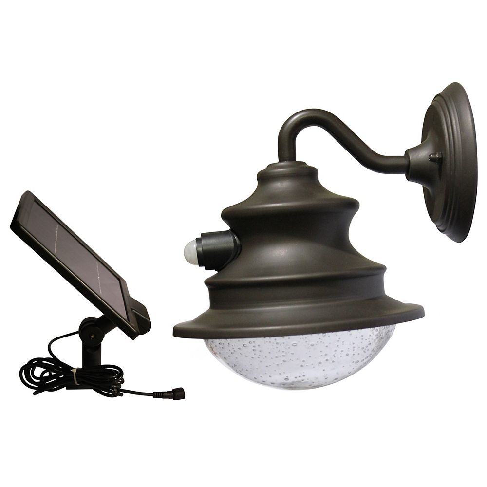 Gama Sonic Barn Solar Brown Outdoor Integrated LED Wall Light with Motion Sensor