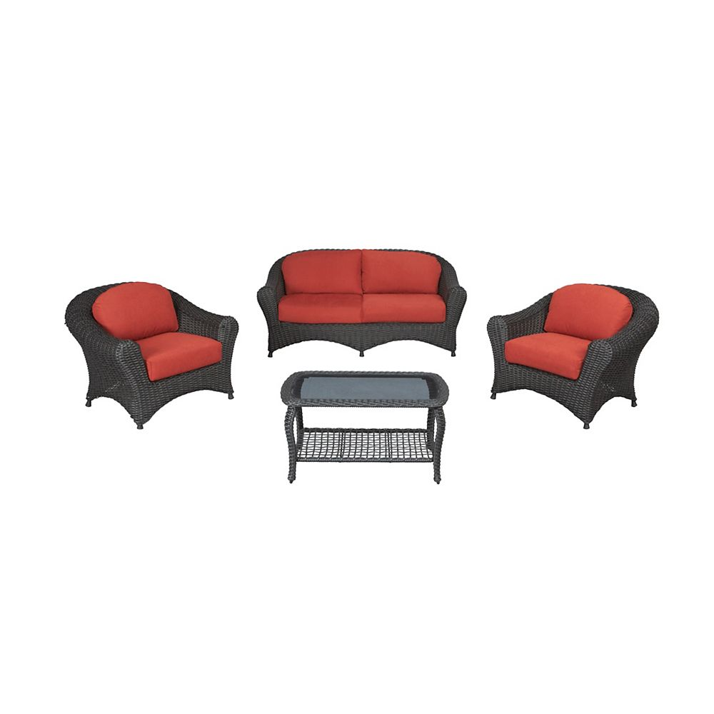 MSL Lake Adela 4-Piece Woven Patio Deep Seating Set in Spice
