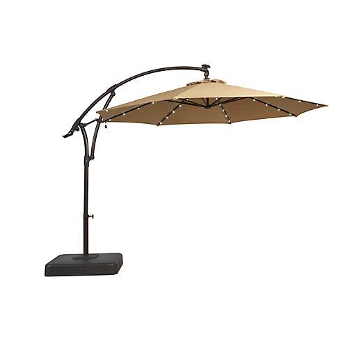 Parasol de jardin excentré de couleur café, lumières DEL solaires, 11pi