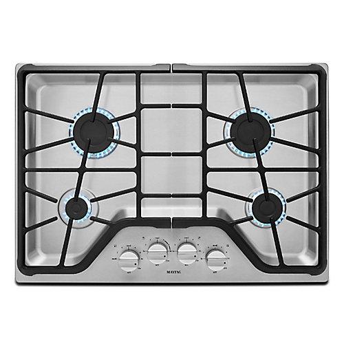Table de cuisson à gaz de 30 pouces en acier inoxydable avec 4 brûleurs incluant un brûleur électrique