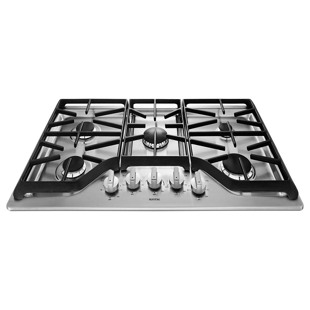 Maytag 36-inch Gas Cooktop in Stainless Steel with 5 Burners including Power Burner