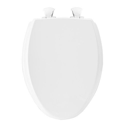 Elongated Closed Front Easy Clean Toilet Seat in White