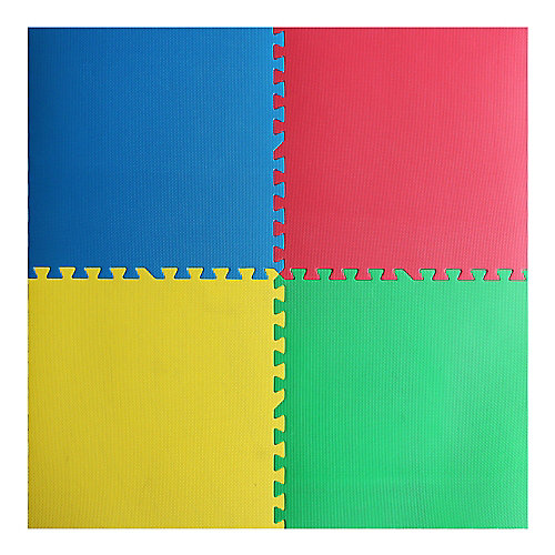 Red, Yellow, Green and Blue 24-inch X 24-inch Anti-Fatigue Interlocking Mats (4-Pack)