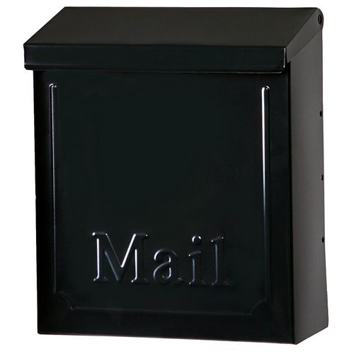 Townhouse Black Steel Vertical Wall-Mount Locking Mailbox
