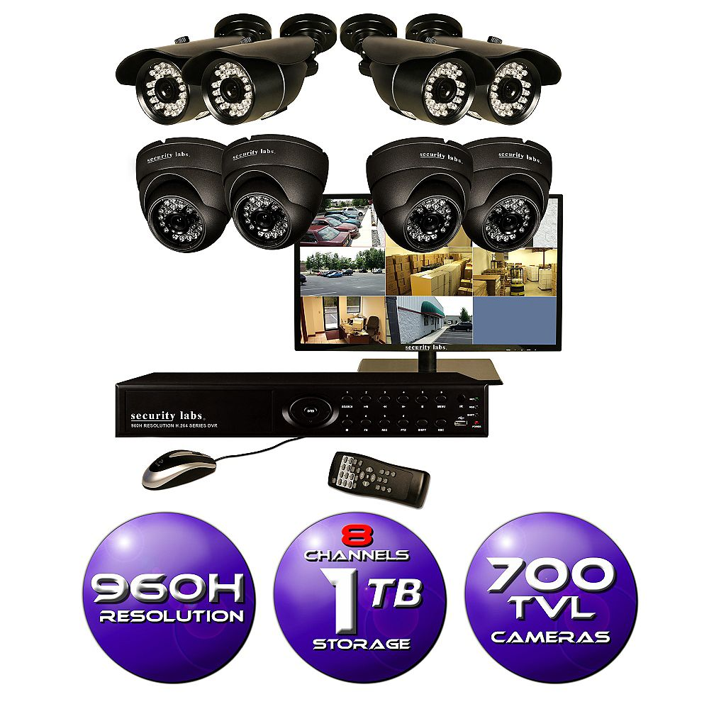 Security Labs 8 CH Surveillance System w/ 19 Inch HD Monitor, 960H DVR, 1TB HDD, and (8) 700TVL Cameras