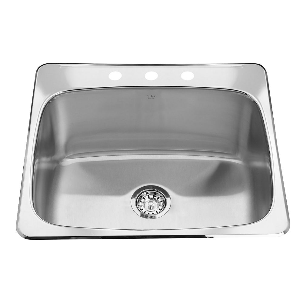 Kindred Top Mount Satin Finish 12-inch Deep 3-Hole Faucet Drilling Single Bowl Kitchen Sink