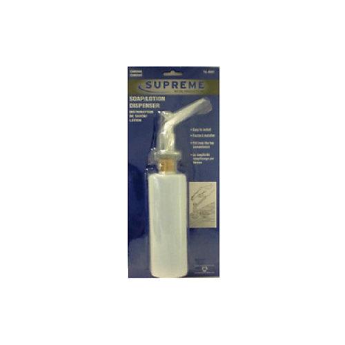 Distributeur à savon et lotion, à 45 degrés. Plaqué chrome. Emballage monocoque. Blanc