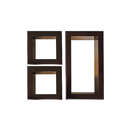 Nexxt, jeu de trois étagères Framed Cubbi, en acajou