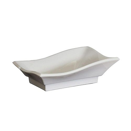 American Imaginations Rectangular Ceramic Vessel Sink in White