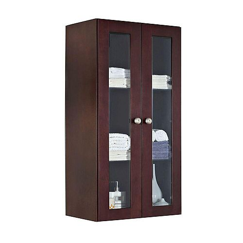 24 Inch W x 48 Inch H Solid Cherry Wood Reversible Door Wall Linen Cabinet in Coffee Finish