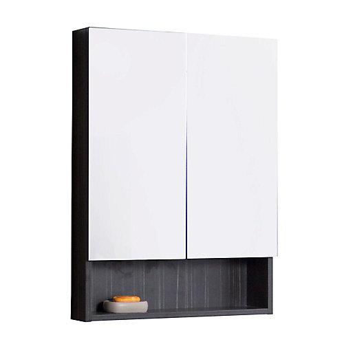 24 po. W x 32 po. H contreplaqué solide armoire à pharmacie avec des portes Soft-close En Aube gris Mélamine