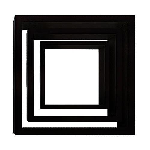 Jeu de trois étagères murales Cubbi, bois noir