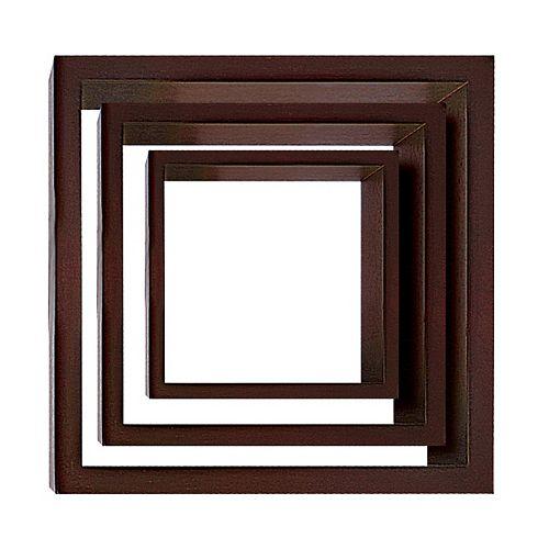 Cubbi 3-Piece Wall Shelf- Java wood