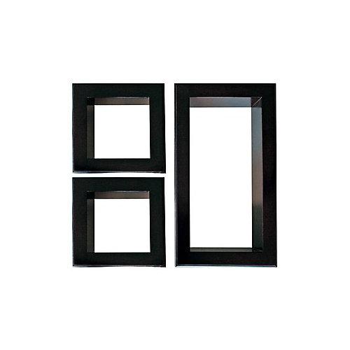 Nexxt, jeu de trois étagères Framed Cubbi, en noir