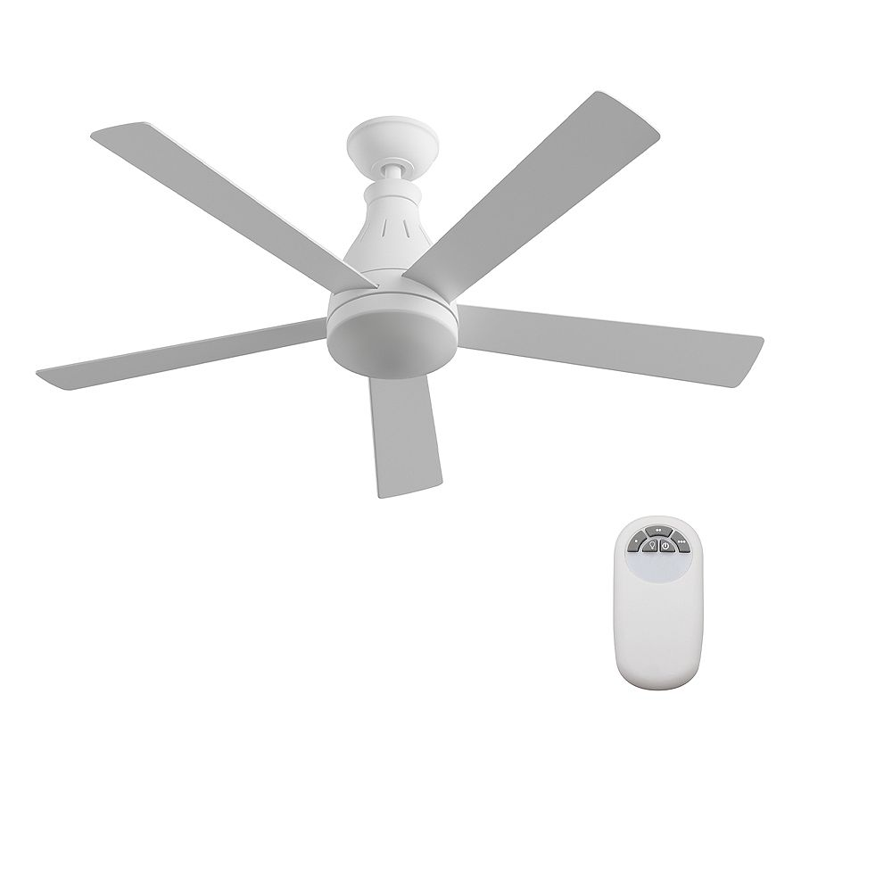 Hampton Bay Cobram 48 Inch White Ceiling Fan With Integrated Led Light And Remote Control The Home Depot Canada