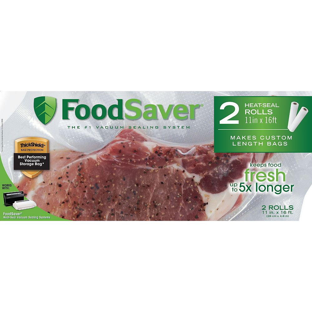 Foodsaver 11 in. x 16 ft. Freezer Heat-Seal Roll (2-Pack)