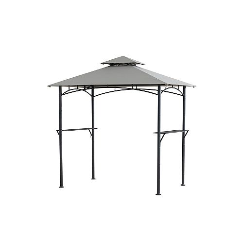 Hampton Bay Tiki 8 ft. x 5 ft. Grill Gazebo with Built-in Shelves