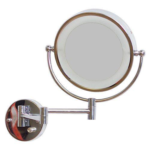 8.5 po. Miroir rond W LED avec variateur de lumière et double 1x/5x Zoom
