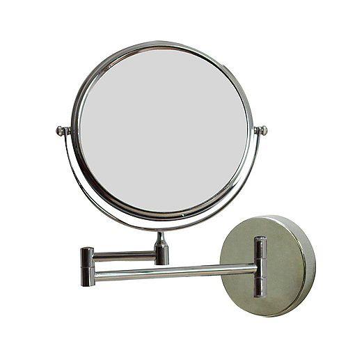 8 po. W Miroir de maquillage Mont Rond Chrome mur loupe avec double 1x/5x Zoom