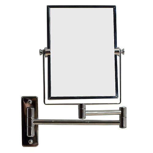 Miroir en laiton rectangulaire grossissant mural, 16,36 po l, chrome