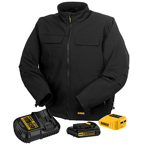 Unisex Large Black 20V or 12V MAX Heated Work Jacket Kit with 20V Li-Ion MAX Battery and Charger