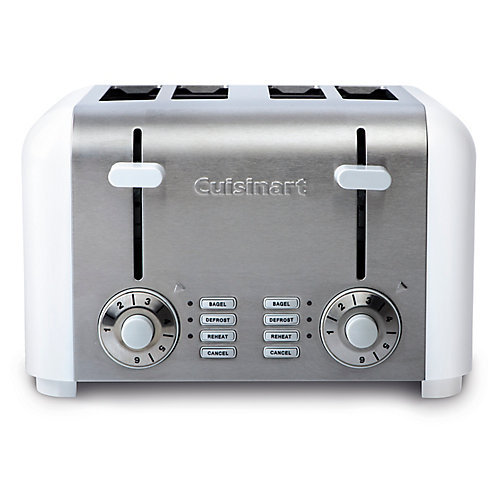 4-Slice Compact Toaster - White Stainless
