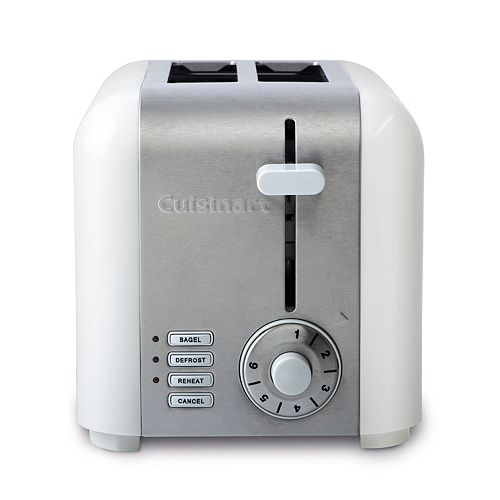 2-Slice Compact Toaster - White Stainless