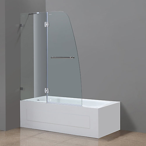 Soleil 48 In x 58 In Completely Frameless Pivot Tub/Shower Door in Chrome