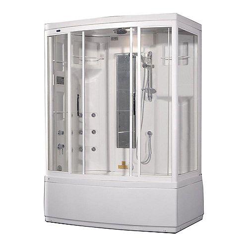59 po x 36 po x 86 en. Kit de boîtier de douche de vapeur avec bain à remous avec 9 Jets de corps en blanc avec la main gauche