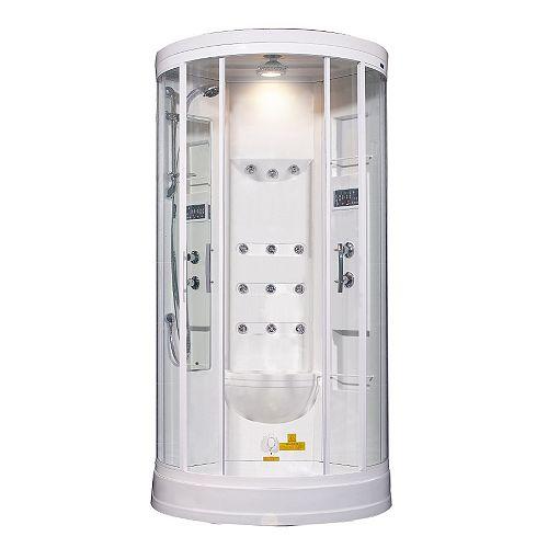 40 po x 40 po x 88 dans. Vapeur Enclosure Kit de douche avec Jets de corps 12 en blanc