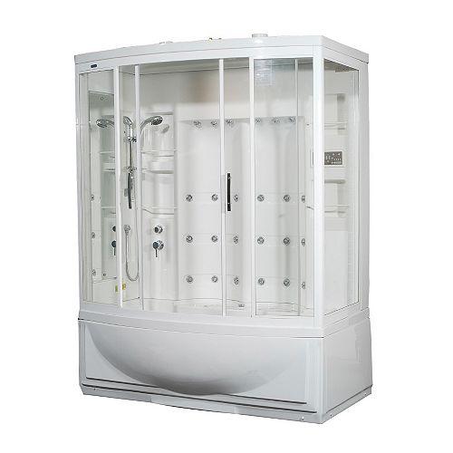 68 po x 41 po x 86 en. Kit de boîtier de douche de vapeur avec bain à remous avec 24 Jets de corps en blanc avec une main gauche