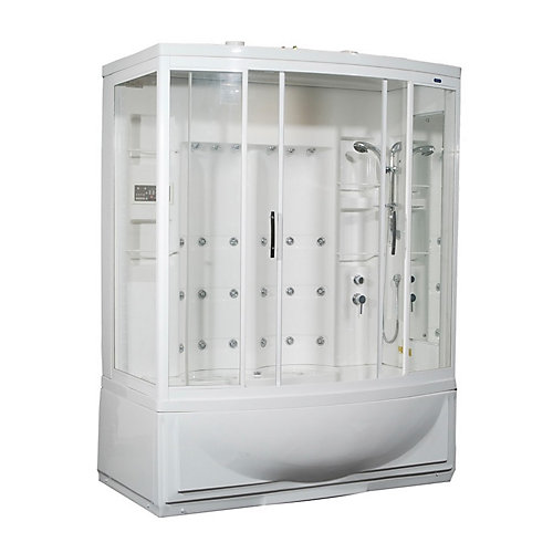 68 Inch x 41 Inch x 86 Inch Steam Shower Enclosure Kit with Whirlpool Bath with 24 Body Jets in White with Right Hand