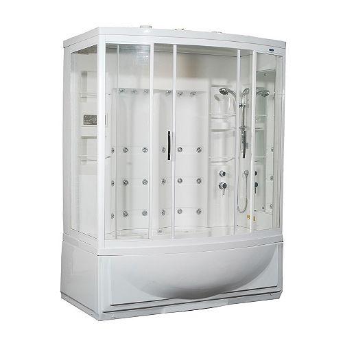 68 po x 41 po x 86 en. Kit de boîtier de douche de vapeur avec bain à remous avec 24 Jets de corps blanc avec une main droite